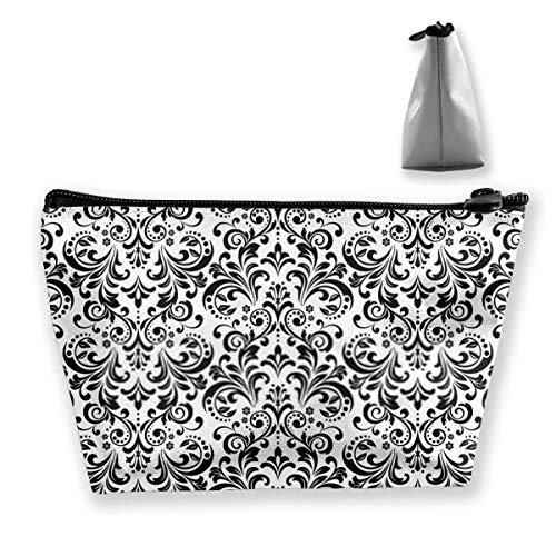 Blumenmuster Vintage Tapete im Barock-Stil Weiß Reise Kulturbeutel Kosmetik Waschbeutel Make-up-Hüllen