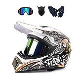 LALAGOU - Casco de motocross para adulto, motocross,niños, quad,bike, Go Karting, gafas, guantes/máscara facial, para BMX MTB, ECE y DOT (Red Yellow, XL (58-59 cm)