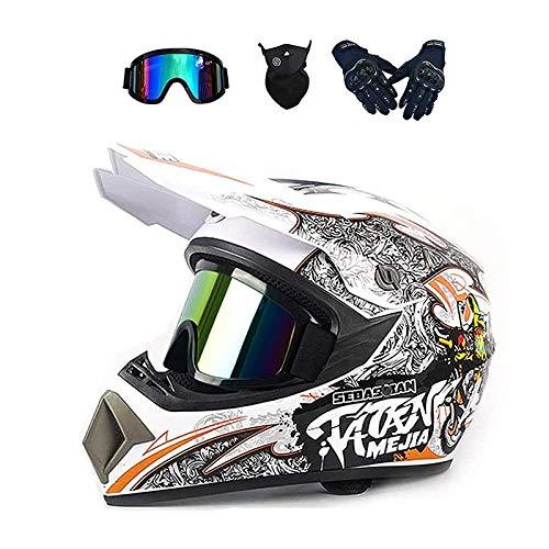 ZHUOYU MX-Helm,Motocross Helm,Downhill Enduro Helm Integralhelm,Fullface Helm,Kinder und Erwachsene Motocross Helmset,MTB Helm,ATV Helm,DOT Zertifizierung,Brille/Handschuhen/Maske (C,S (52-53 cm))