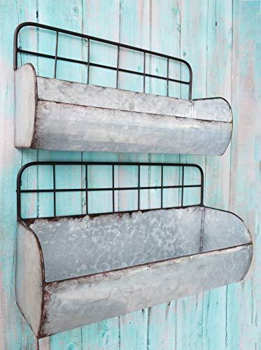 ShabbyDecor Galvanized Metal Industrial Wall Storage Holder, Set of 2 Rustic Tin Shelves