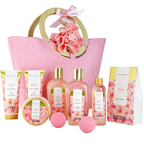 Bath Spa Gift Basket for Women - Spa Luxetique Spa Set for Women Gift, 10pcs Rose Spa Basket,...