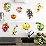 ufengke Pegatinas de Pared Fruta Cocina Vinilos Adhesivas Pared Plátano Limón Manzana para Dormitorio Habitación Infantiles Niños