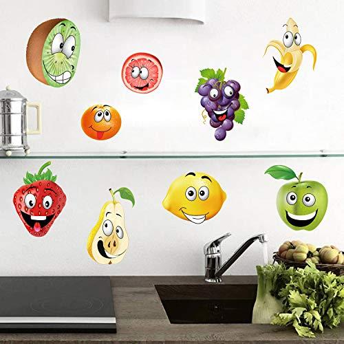 ufengke Wandtattoos Küche Obst Wandsticker Wandaufkleber Banane Zitrone Apfel Emoji für Kinderzimmer Wohnzimmer