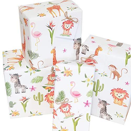 Geschenkpapier, umweltfreundlich, Motiv: Safari-Dschungeltiere, 50 x 70 cm, gefaltete Bögen, Geschenkanhänger und Schnur, für viele Gelegwenheiten, 10 Stück