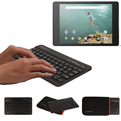 TECHGEAR [Active Strike (M) Slim Line Bluetooth Wireless UK Tastatur mit Tragetasche, für HTC Google Nexus 9 Tablet, Schwarz