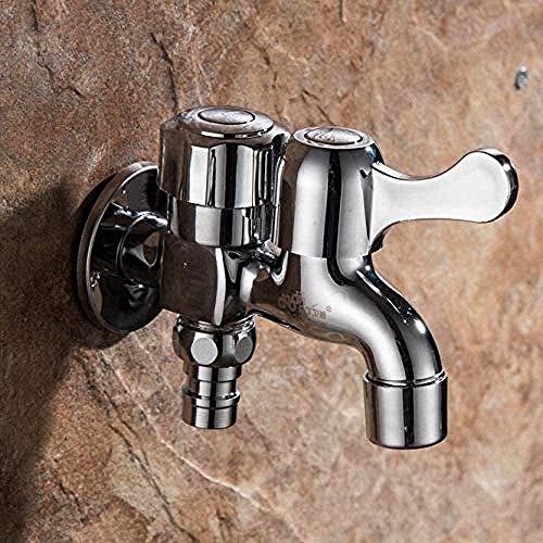 Wasserhahn Wasserhahn Messing Wandmontage Chrom kleinen dekorativen Wasserhahn Doppelgarten Wasserhahn Waschmaschine Doppelhahn mit Wasserhahn Wasserhahn
