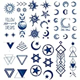 Semi Permanent Space Temporary Tattoos, 6-Sheet 2 Weeks Long Last Waterproof Moon Star Sun Tattoos, 100% Plant-Based Ink Infinity Realistic Tattoos Sticker for Adult Children