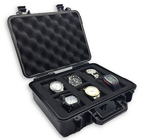 ModernGen 6 Slot Watch Box Travel Case - Heavy Duty Plastic Impact Resistant Waterproof