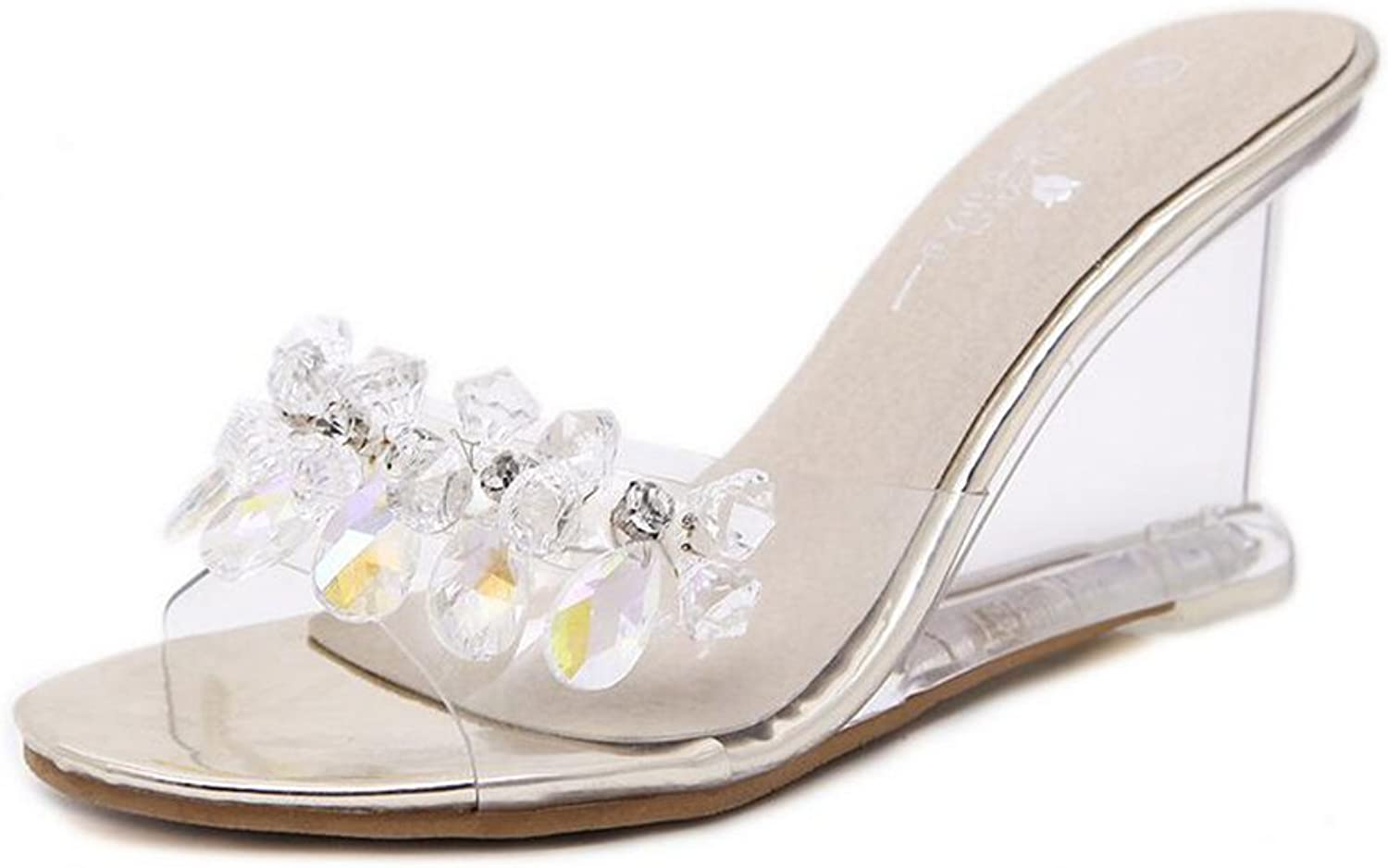 Women's shoes PVC Spring Summer Club shoes Heels Wedge Heel Crystal Heel Sparkling Glitter Rhinestone for Wedding Party & Evening