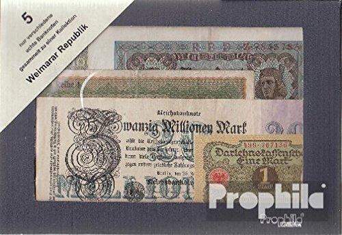 Deutsches Reich 5 verschiedene Banknoten Weimarer Republik (Banknoten für Sammler)