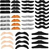 WOWOSS 48 Pièces Fausses Moustaches Autocollantes pour Deguisement (6 Styles, 4...