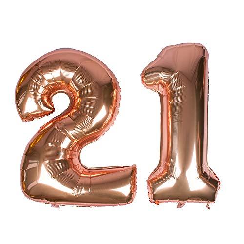 Gustawarm Ballon à hélium en Feuille de Mylar avec Chiffres en Aluminium doré Rose 101,6 cm Number 21