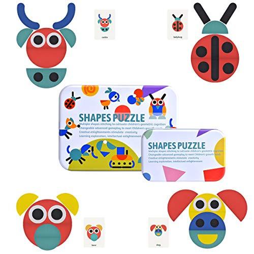 Queta Formas y Colores Puzzles de Madera, Rompecabezas de Madera de Colores con Tarjeta de Aprendizaje de imágenes, Juguetes educativos para niños pequeños, 34 Piezas + 60 Piezas