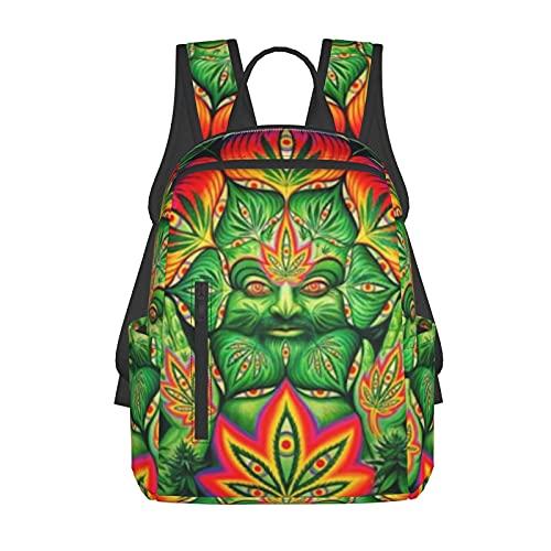 NiYoung School Daypack Backpack, Big Capacity Rucksack for School Picnic Running, Third Eye Cannabis Leaf Weed Marijuana Travel Hiking Backpack for Girls Boys, Back to School