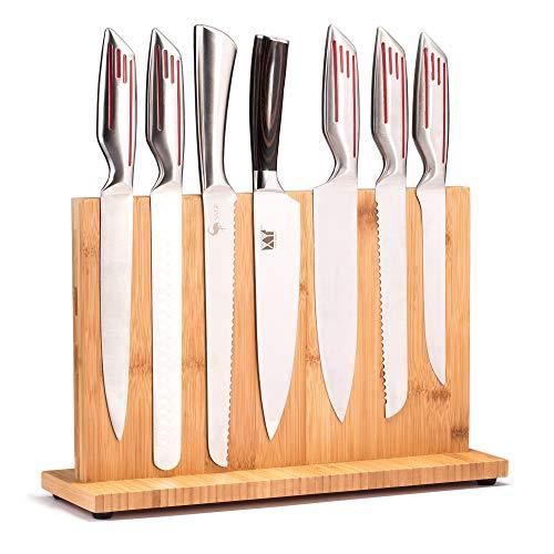 Magnetischer Messerblock (natürlicher Bambus), Messerhalter, Messerorganizer, Messer-Dock, Besteck-Ständer und Aufbewahrungsregal, großes Fassungsvermögen, doppelseitig, stark magnetisch (35,6 cm)