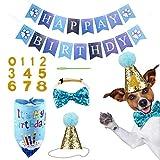 WELLXUNK Bandana de cumpleaños, Perros Pañuelo de cumpleaños, Sombrerode cumpleaños de Perro, Set de Cumpleaños para Mascotas, para Decoración de Cumpleaños de Perro, Gato, Mascota o Cachorro
