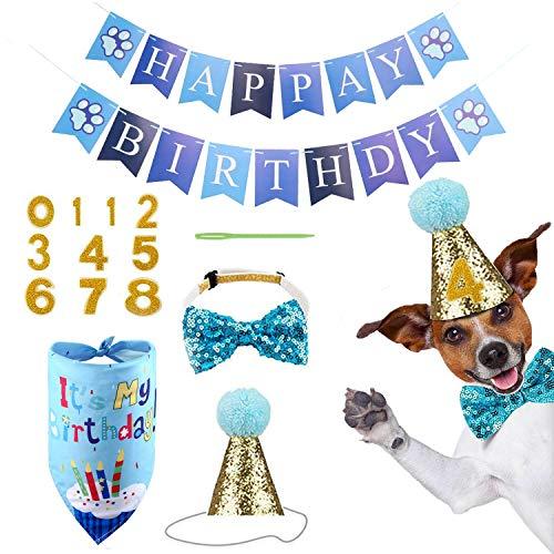 WELLXUNK® Hundegeburtstag Bandana, 5 Stücke Hund Geburtstag Bandana Hund Geburtstag Hut, Happy Birthday Banner und Bowknot und Geburtstagskarte für Hund Geburtstag Party-Dekorationen