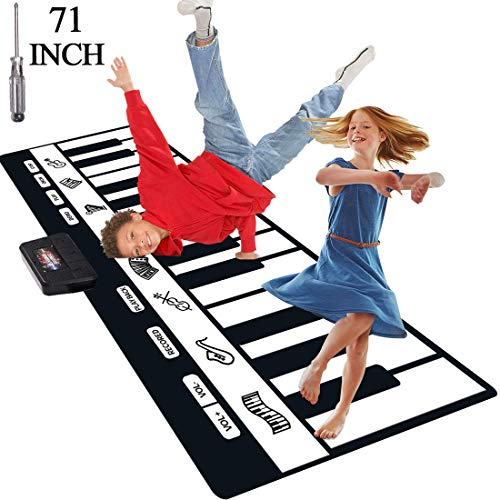 TNELTUEB 71 INCH Piano Mat, Extra Large Piano Musical Mat with 24 Keys, 8 Musical Instruments Dance Electronic Music Carpet Touch Playmat Early Education Toys Floor Piano for Kids Baby Boys Girls