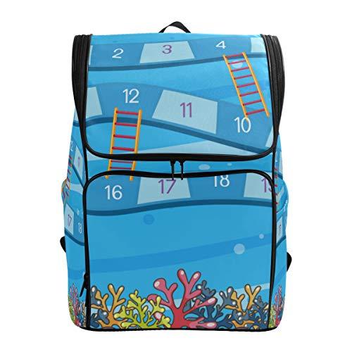 Mokale Unterwasser Brettspiel Vorlage Illustration,Rucksack Rucksack Reisetasche Wanderrucksack College Student School Bookbag Reisetasche für Männer oder Frauen