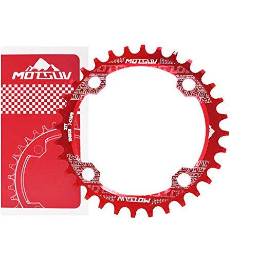 Motosv - Corona singola in alluminio 104BCD 32T 34T 36T 38T 38T, perfetta per la maggior parte delle mountain bike, bici da strada, BMX MTB Fixie Track biciclette a cambio fisso, colore rosso, 32T
