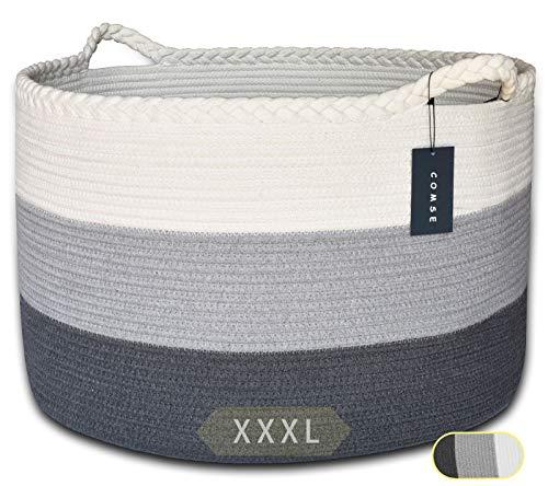 """COMSE Extra Large Blanket Basket, Storage Basket, Rope Laundry Basket, 21.7""""x 13.8"""", Cotton Rope Basket, XXXL Laundry Basket, Toy Basket, Woven Basket, Clothes Baskets"""