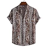 Camisa Hawaiana para Hombre - Funky Beach Shirt- Summer Funny Button Down Manga Corta Rayas De Flores Camisas Estampadas En 3D Casual Turn Down Collar Holiday Party Top Wear, Marrón, L