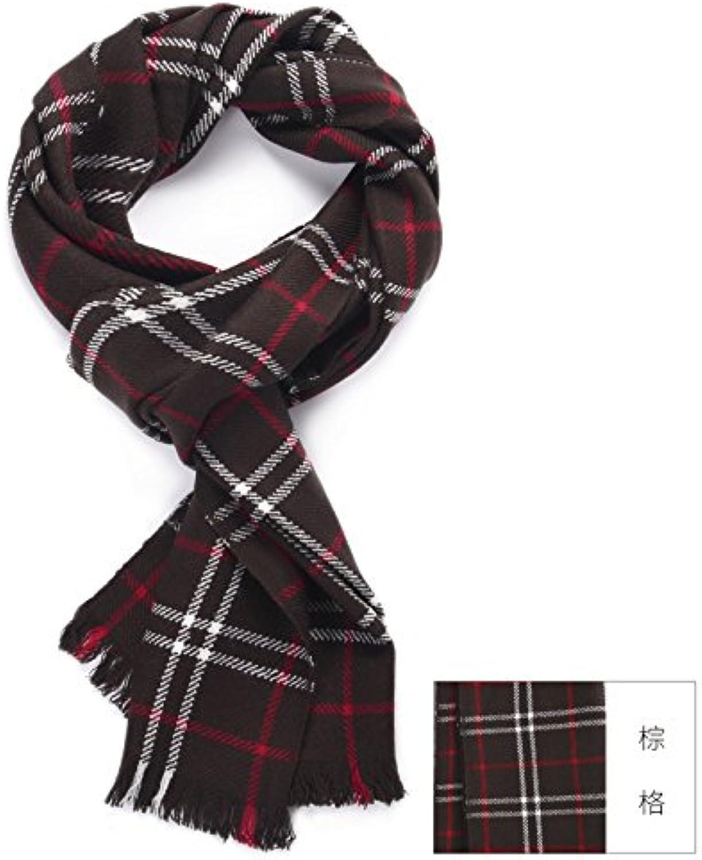 FLYRCX Men's Autumn Winter Fashion Warm Business Wool Plaid Scarf 186cmx30cm