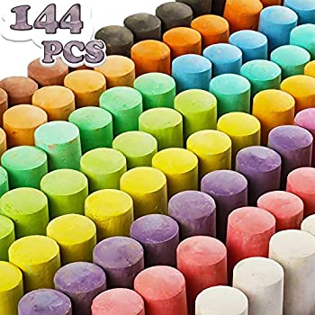 144 Pack 18 Colors Jumbo Sidewalk Chalk Set Washable Art Play For Kid and Adult Paint on School Classroom Chalkboard Kitchen Office Blackboard Playground Outdoor Gift for Birthday Party