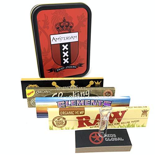 Rooden Exclusieve Tabak Tin [Sigaret - Stash - Reizen] met rollend papier en glas Tips Amsterdam