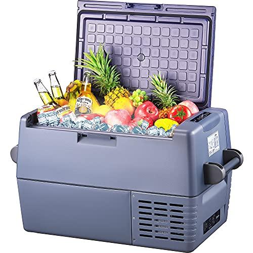 Decen AC/DC - Kompressor-Kühlbox, 45 Liter Tragbare Kühlschränke, Abnehmbare Zwei-Wege-Tür, 12 V und 230 V für PKW, LKW, Boot, Wohnmobil und Steckdosen (45L)