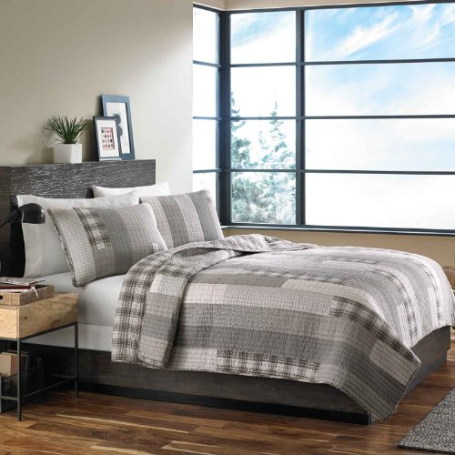 Eddie Bauer Fairview 3 Piece Cotton Reversible Quilt Set, King, Gray, Model:200405