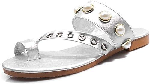 Sandalen Damenmode Toe Casual Strandschuhe tragen Hausschuhe (Farbe   A, Größe   42 EU)