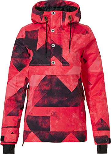 Rehall Frida Anorak Snowboard Jacket Womens Sz S Graphic Mountains Red Pink