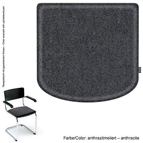 Feltd. Eco Filz Kissen geeignet für Thonet/Breuer Modell S43-29 Farben - optional inkl. Antirutsch und gepolstert! (anthrazitmeliert)