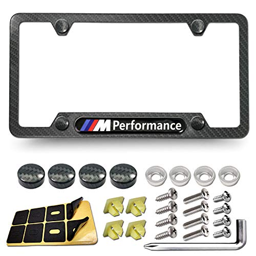 PUQIN-AUTO License Plate Frame for BMW- Carbon Fiber Car Tag Holder Cover with M Performance Logo, Matte Black Aluminum Frame with Stainless Steel Mounting Screws, Caps, Rattle Proof Pads, 1 Pack