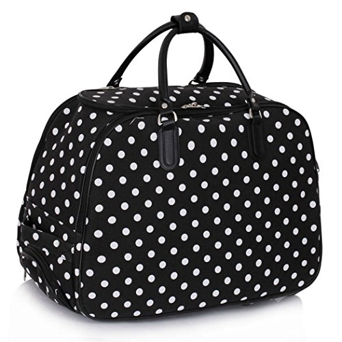 LeahWard Women's Girl's Holdall Luggage Bag Hand Baggage Travel Suitcase Holiday School Bags 005 (L Black DOTS)