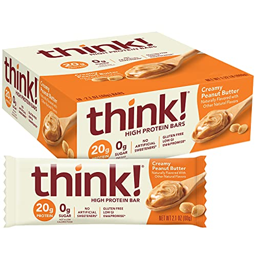 think! High Protein Bars - Creamy Peanut Butter, 20g Protein, 0g Sugar, No Artificial Sweeteners, GMO Free, 2.1 oz bar (10 Count)