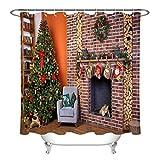Home Bücherregal Weihnachtsbaum Kamin Girlande Dekorativer Duschvorhang kann gewaschen & getrocknet Werden,12Haken,150X180cm,geeignet für Badezimmer