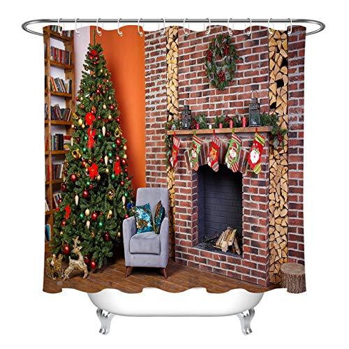 Home Bücherregal Weihnachtsbaum Kamin Girlande Duschvorhang für Badezimmer,wasserdichtes & schnelltrocknendes Polyester,hochauflösendes Muster,12Haken,180X180cm,Heimtextilien