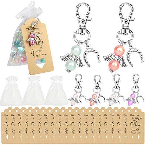 HOWAF 60pack Mini Pearl Angle Guardian Angel Lucky Charm Keychains With Thank You Tag Candy Bag Pouch for Rustic Wedding Decorations Party Return Gifts Wedding Favors