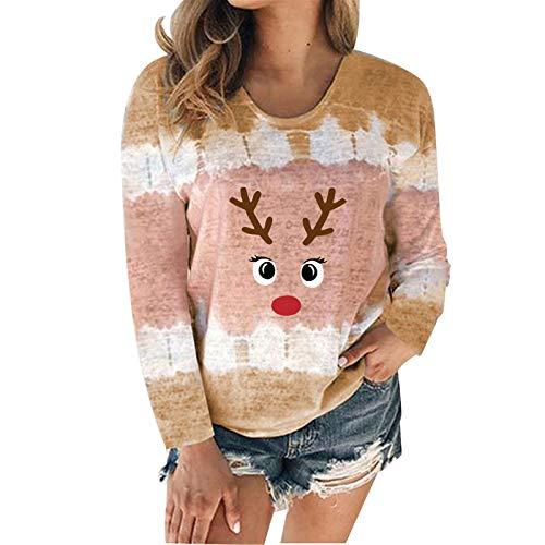 qiaoxiahe Weihnachten Elch Damen Batik Langarm Pullover Kurze Crop Tops Casual Sweatshirt Lustig Tie Dye Pullover Sweatshirt Langarm Kapuzenpullover Tops