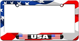 Graphics and More USA Country Flag - Black Double - License Plate Tag Frame - American Flag Design