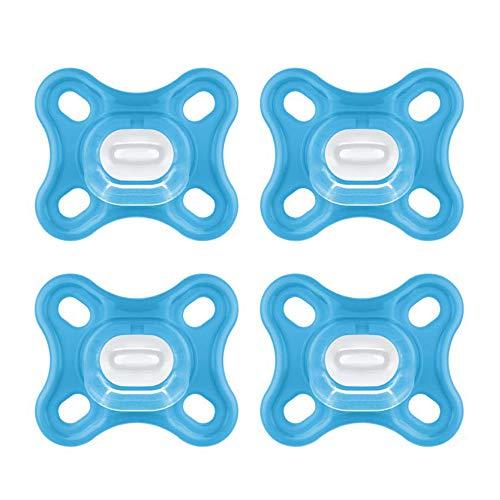 MAM 100% Silikon Schnuller Comfort speziell für Früh- und Neugeborene extra klein & leicht // 0 Mo.+ Boy // 4er Set // inkl. 2 Sterilisiertransportboxen