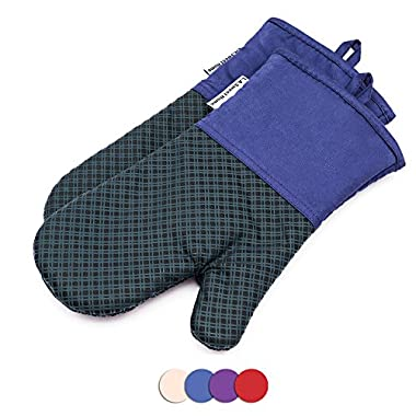 LA Sweet Home Silicone Oven Mitts 464 F Heat Resistant Plaid Cooking Gloves Non-Slip Grip Pot Holders for Kitchen Oven, BBQ Grill and Fire Pits Ideal for Cooking, Baking 7x13 inch 1 Pair (Blue)