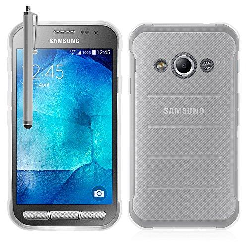 Annart Schutzhülle aus Silikon-Gel, weich, ultradünn, für Samsung Galaxy Xcover 3 SM-G388F/ Xcover 3 (2016) Value Edition SM-G389F + Eingabestift – transparent