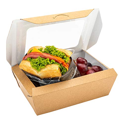 Cafe Vision 57 Ounces Food Boxes 200 Grease-Resistant Baked Goods Gift Boxes - Built-In Lids 2 Windows Kraft Paper Brownie Boxes For Meals And Desserts 79 x 55 x 24 Inch - Restaurantware