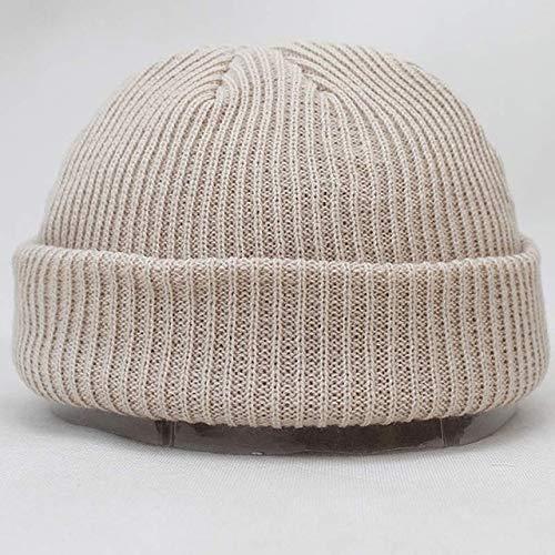 N/A Korte warme gebreide effen kleur hoed dames mannen kabel rand hoed unisex hoed mode