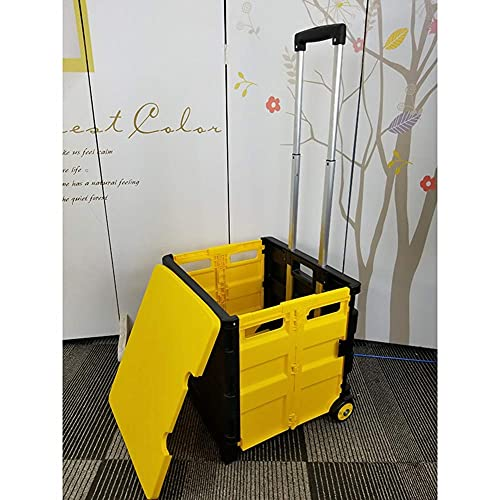 YLDXP Cart Two-Wheeled Collapsible Handcart with Lid Rolling Utility Cart with Seat Heavy Duty Lightweight Hand Rolling Crate Grocery Cart for File Office Travel W Telescoping Handle G Large