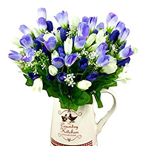 Silk Flower Arrangements Gilroy 1 Bouquet 15 Heads Fake Tulip Bud Artificial Flower Home Wedding Party Decor