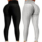 Leggings for Women,2pack Lifting Anti Cellulite High Waisted Women's Yoga Pants,Workout Running Tummy Control Sport (Black+Grey, L)